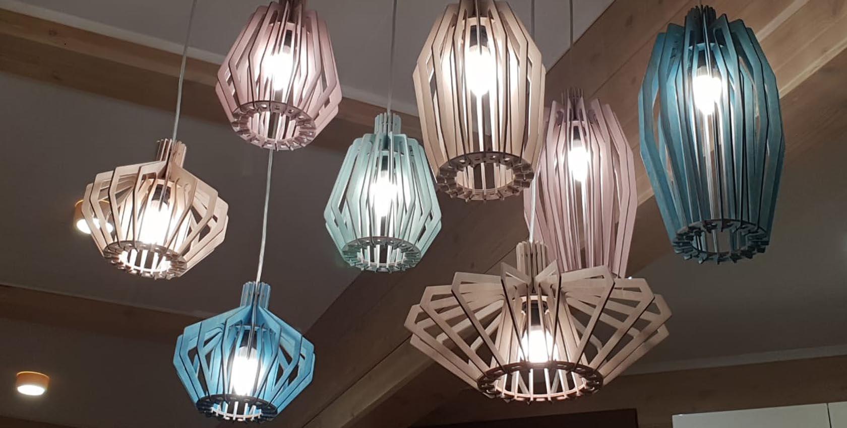 wooden lamp in interior